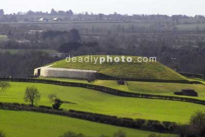 Newgrange, as seen from the top of Dowth