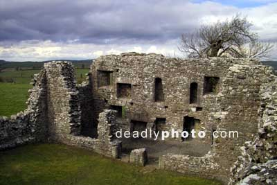 The walls of the ruined monastery at the hill of Slane