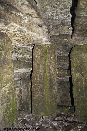 Interior of Cairn G, with support pillars, Carrowkeel