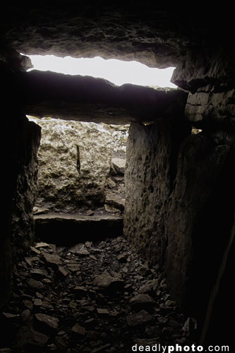 Interior of Cairn G, the view of the entrance and lightbox, Carrowkeel