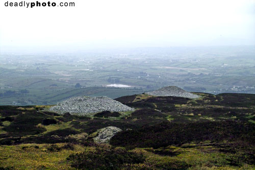 Carrowkeel: Cairn G, and H, with south Sligo in the background