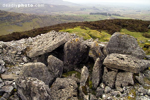 Carrowkeel: Cairn E, showing the countryside beliw