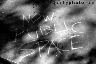 'Now Public Space' - Chalk graffiti in Fitzwilliam Square Park