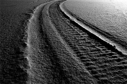 Monochrome tracks in snow, Inari Finland