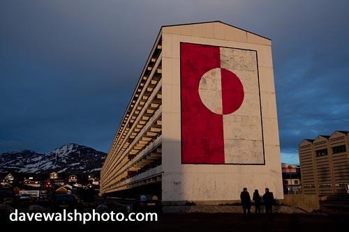 Greenland flag mural on apartment block, Nuuk, Greenland