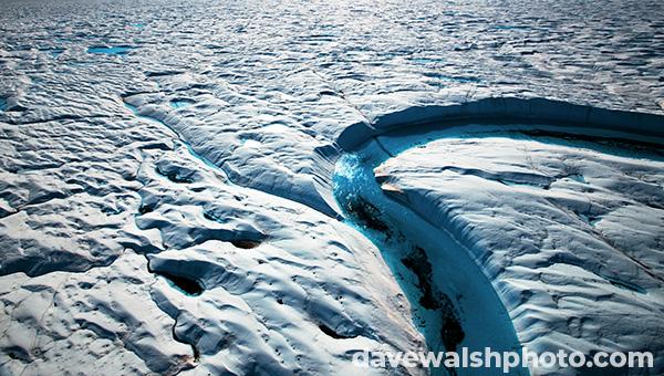 Arctic: Climate change: Blue Melt River, Petermann Glacier