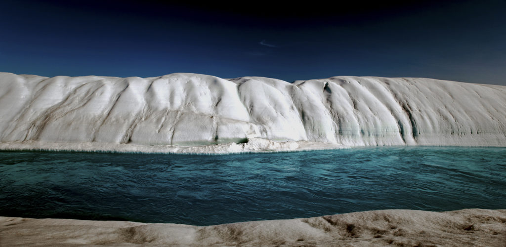 Climate Change Greenland: Melt River, Petermann Glacier, Arctic