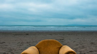 Armchair washed up on Dollymount Strand, Bull Island, Dublin