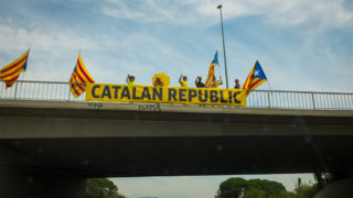 Pro independence activists call for a Catalan Republic