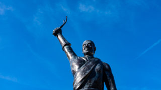 Statue of cyclist Eugene Christophe, Sainte-Marie de Campan