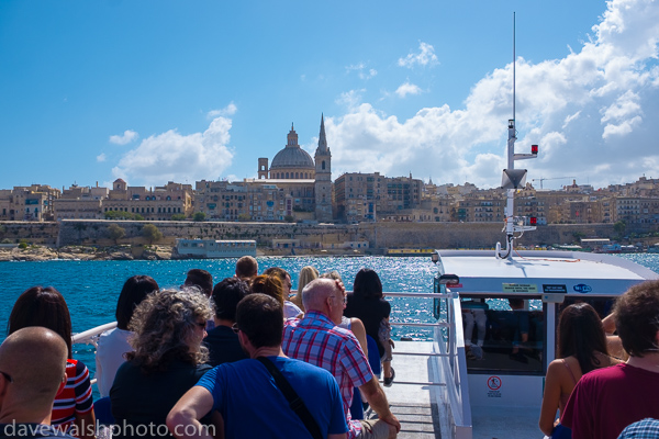 View of Valetta from Tourist boat passing Manoel Island, Malta