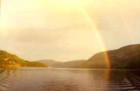 rainbow on lake seljord