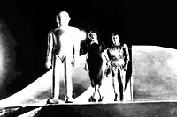gort, helen and klaatu emerge from the saucer