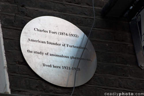Plaque at 39A Marchmont Steet, London, former home of Charles Fort